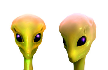 Sci-fi 3d illustration, aliens isolated on white