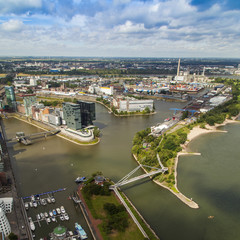 Dusseldorf, Germany. View of Media harbor from a survey platform