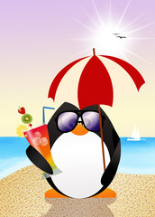 funny penguin on the beach