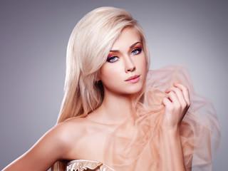 Portrait of a beautiful sensual blonde woman.