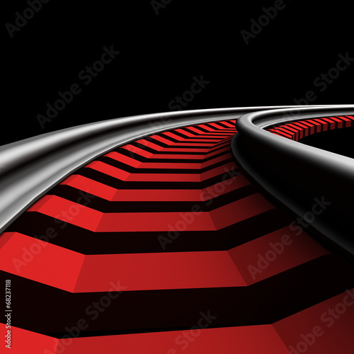canvas print picture Single curved railroad track