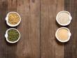 Raw Organic Amaranth and quinoa grains, wheat and mung beans