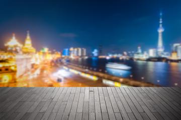 bokeh background city of shanghai at night
