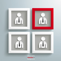 3 White 1 Red Frames Employee
