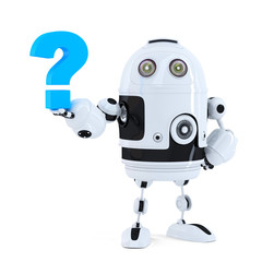 Robot with question mark. Isolated. Clipping path