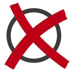 Kreis mit Kreuz, rot