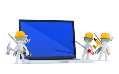Construction workers with laptop. Isolated. Clipping path