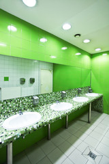 Fresh and green restroom area in public comfort zone