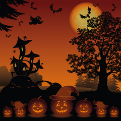 Halloween landscape with pumpkins Jack-o-lantern