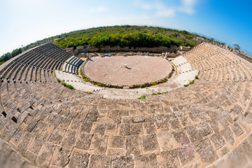 Ancient Roman theatre at Salamis Ruins. Famagusta. Cyprus
