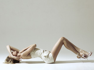 model in studio on a white cyclorama