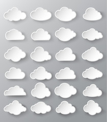 Abstract speech bubbles in the shape of clouds