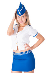 Young attractive air hostess smiling