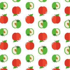 Seamless pattern with apples on the white background.