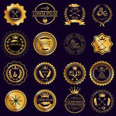 Collection of vintage round golden badges