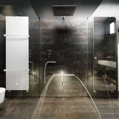 masonry shower cubicle and masonry bathhtub in a modern bathroom