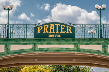 Welcome sign at the entry of the public Prater Park in Vienna