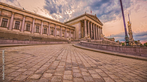 Austrian Parliament in Vienna. Wide-angle view at sunset.