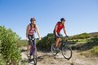 Active couple cycling in the countryside