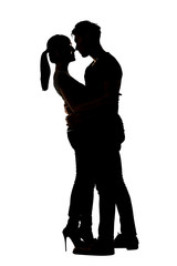 Silhouette of Asian couple hug