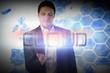 Businessman presenting the word cloud