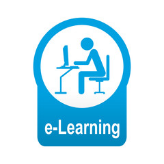 Etiqueta tipo app azul redonda e-Learning