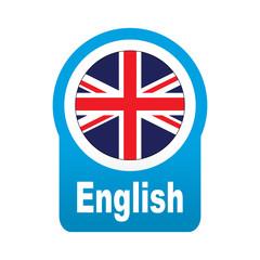 Etiqueta tipo app azul redonda English
