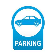 Etiqueta tipo app azul redonda PARKING para coches