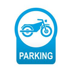 Etiqueta tipo app azul redonda PARKING para motos