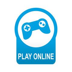 Etiqueta tipo app azul redonda PLAY ONLINE