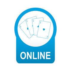 Etiqueta tipo app azul redonda casino online