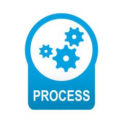 Etiqueta tipo app azul redonda PROCESS