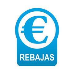 Etiqueta tipo app azul redonda REBAJAS