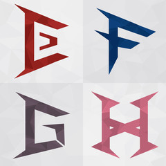 E F G H Alphabet to an icon form. Business creative.