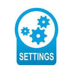 Etiqueta tipo app azul redonda SETTINGS
