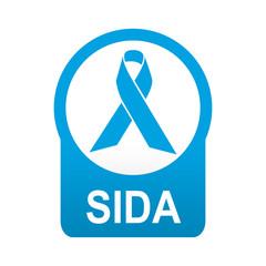 Etiqueta tipo app azul redonda SIDA