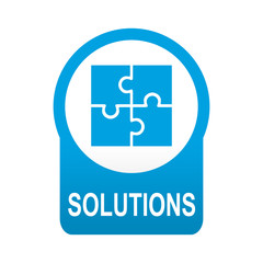 Etiqueta tipo app azul redonda SOLUTIONS