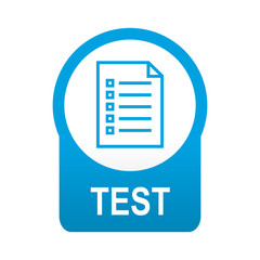 Etiqueta tipo app azul redonda TEST