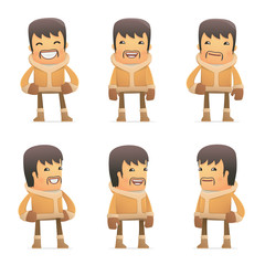 set of eskimo character in different poses