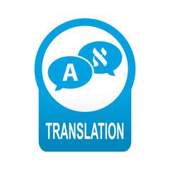 Etiqueta tipo app azul redonda TRANSLATION