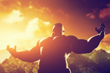 Muscular strong man with hero, athletic body shape showing power