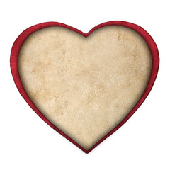 red paper heart isolated on white background