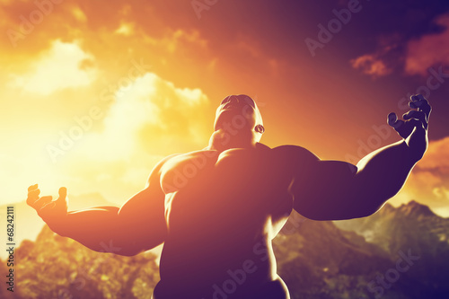 Muscular strong man with hero, athletic body shape showing power - 68242111