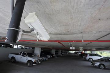 security camera in car parking