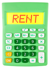 Calculator with RENT on display on white background