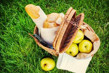 Picnic Food in Wattled Basket