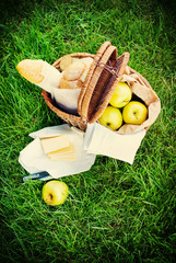 Picnic Wattled Basket with Fresh Food