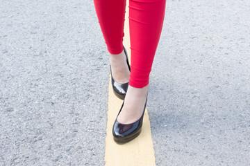 High Heels Girl Walking On Street