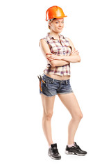 Attractive female carpenter