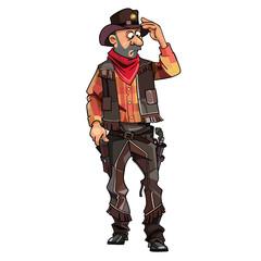 cartoon surprised man cowboy